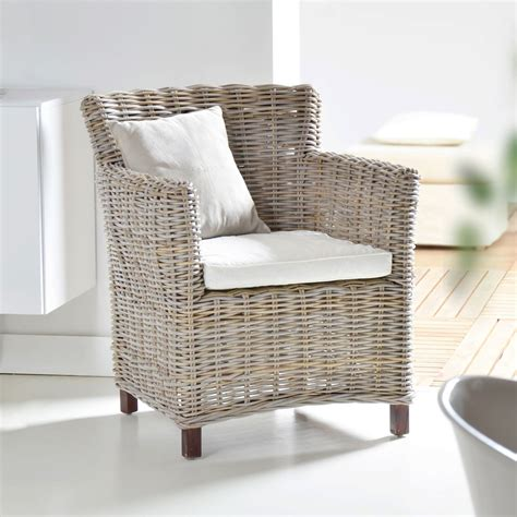 Kubu Square armchair   Grey rattan armchairs at Tikamoon