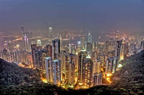 hong kong skyline  victoria peak view  black