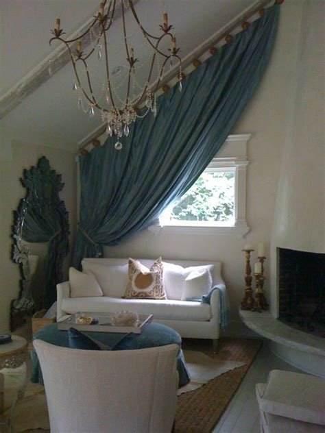 drapes on ceiling slanted ceiling slanted drapes cottage living room by