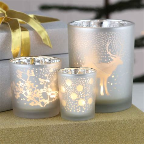 handmade silver christmas tea light holders by nest
