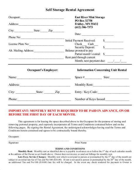 self storage rental agreement template rental agreement form 14 free sle exle format