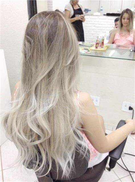 platinum blonde and brown ombre ash brown on top to a platinum blonde on bottom in the