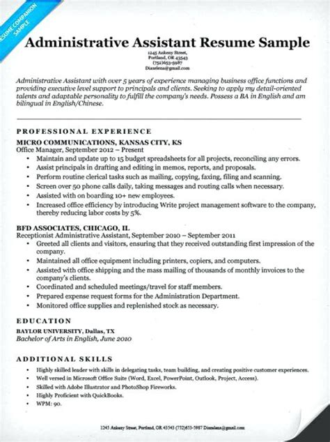 resume templates for administrative administrative assistant resume exle executive template