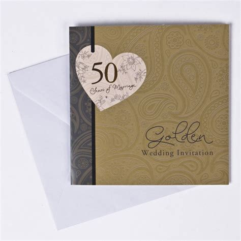 card factory golden wedding invitations golden anniversary invitation cards pack of 10 only 163 1 49