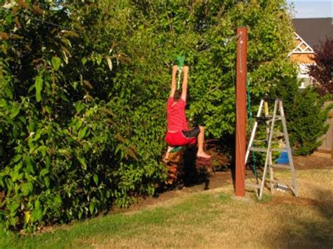 how to make a backyard zip line bob s grand adventures backyard fort zip line