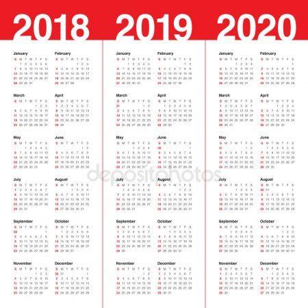 year 2018 2019 2020 calendar vector — stock vector