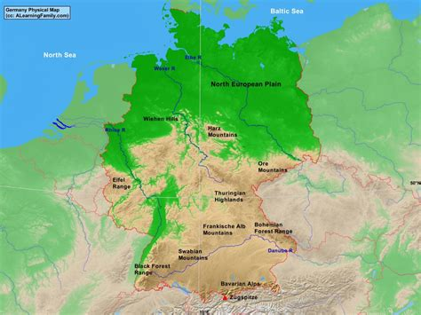 german physical map germany physical map a learning family