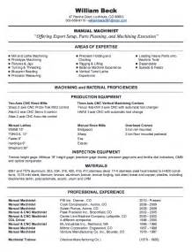 Cnc Machinist Sle Resume by Cnc Machinist Resume Getessay Biz