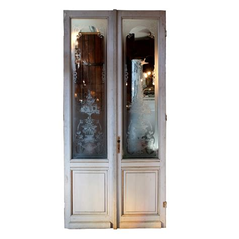 Salvaged Exterior Doors Antique Salvaged 50 Exterior Doors With Etched Glass Ned106 Rw For Sale