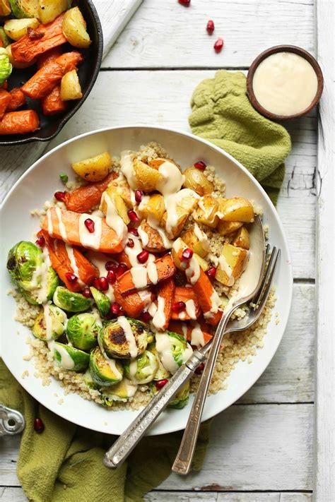 vegetables dinner roasted vegetable quinoa harvest bowl minimalist baker