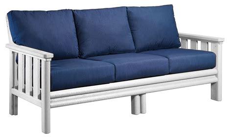 stratford couch stratford white sofa with indigo blue sunbrella cushions