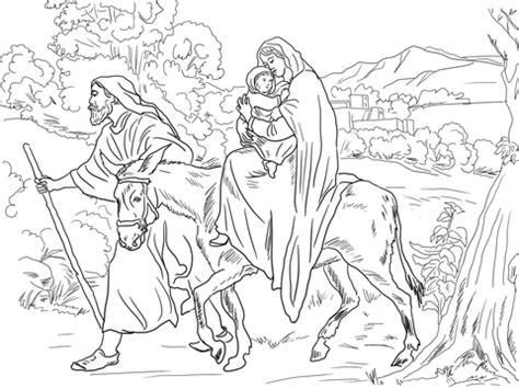 ausmalbild maria und josef fliehen nach aegypten