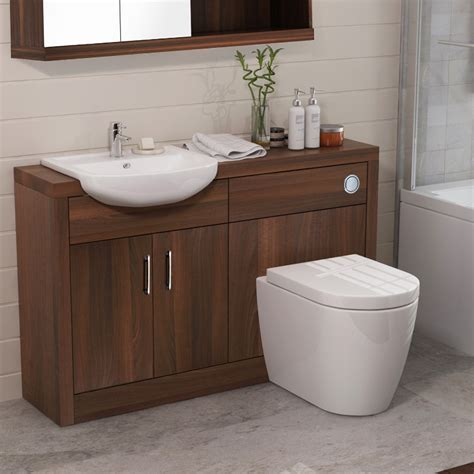 Lucido Fitted Bathroom Furniture Pack Walnut Jax Walnut Bathroom Furniture