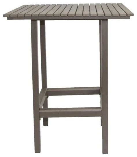 Faux Wood Patio Table Riviera Square Faux Wood Bar Table Gray Contemporary Outdoor Pub And Bistro Tables By