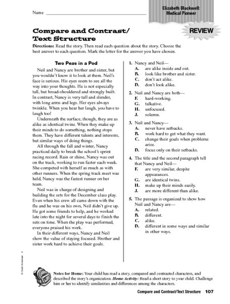 Compare And Contrast Reading Worksheets 5th Grade by Printables Compare And Contrast Worksheets 4th Grade