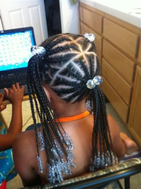 2 balls cornrows long hair of 3 ponytails of braids love the kids braids