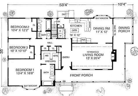 Farmhouse Style House Plan 3 Beds 2 Baths 1600 Sq Ft 1600 Square Foot Country House Plans