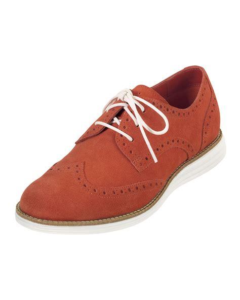 orange oxford shoes cole haan lunargrand suede wingtip oxford orange in orange