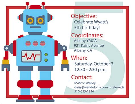 printable robot birthday invitations a few of my favorite things robo rific party plans