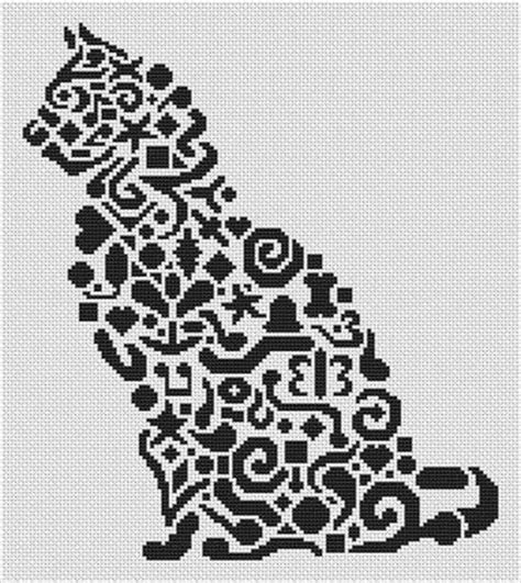 tribal pattern handstitched tribal cat cross stitch pattern by white willow stitching