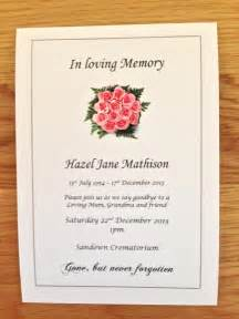 Funeral Invitation Wording 25 X Personalised Funeral Announcement Invitation Cards A6 Free P Amp P Ebay