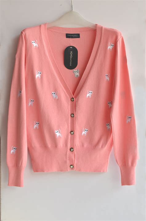 Jaket Caterpillar Sweater 2 buy allover cat embroidery knit cardigan korean slim fit trend all match sweater
