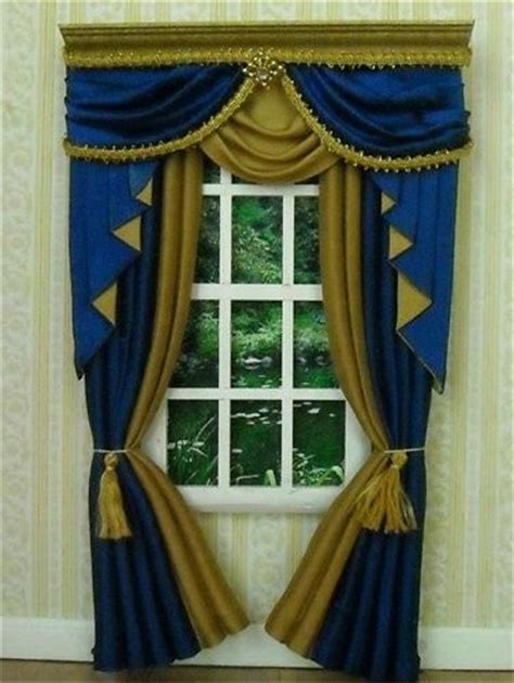 Blue And Gold Curtains Dollhouse Miniature Royal Blue Gold Curtains Drapes 5018