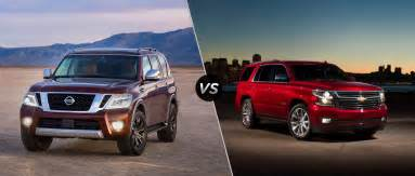 Nissan Pathfinder Vs Armada 2017 Nissan Armada Vs 2017 Chevy Tahoe