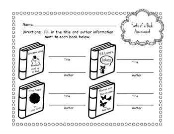 Parts Of A Book Worksheet by Primary School Parts Of A Book Worksheet Bundle By Violet