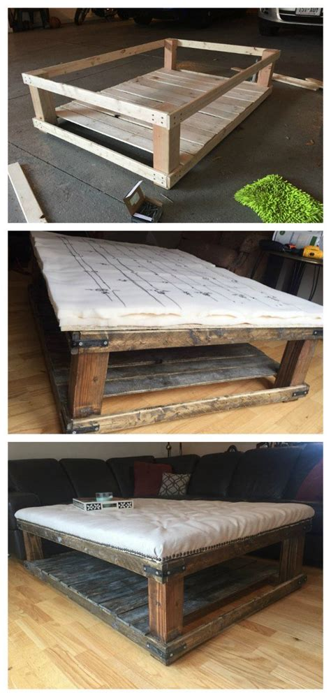 Coffee Table Ottoman Diy Diy Oversized Tufted Ottoman Coffee Table Upholstered Top Shelf Wood Rustic Modern Do It