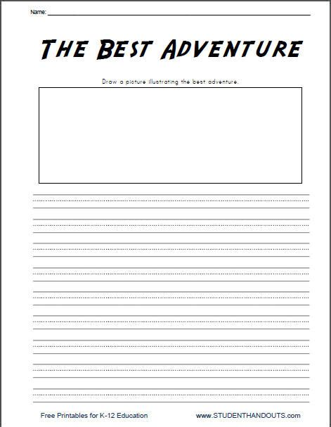 printable journal writing worksheets writing prompts for kindergarten free 6 best images of