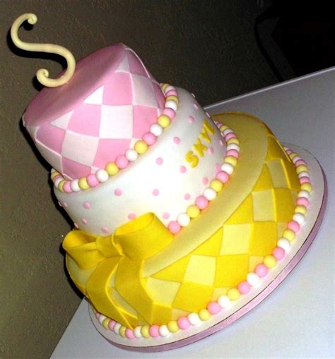 Pink And Yellow Baby Shower Cake pink white yellow babyshower cake cakecentral