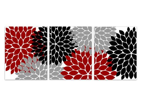 black and grey wall decor home decor wall grey and black flower by