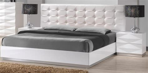full white bedroom set carrerie full size modern white leatherette headboard