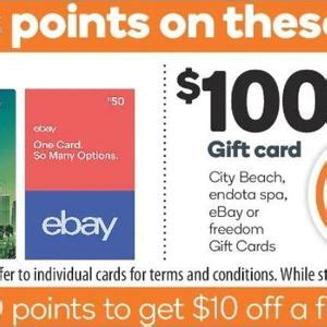 Woolworths Gift Card Promo Code - 1000 rewards points worth 5 with 50 ebay gift card 2000 points worth 10 with