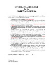 Free Lottery Syndicate Agreement Template Lottery Syndicate Agreement Doc By Izj13352
