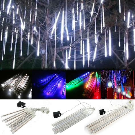 4m white led snowfall icicle lights 50cm drop 20 30 50cm meteor shower falling snow drop icicle string lights ebay
