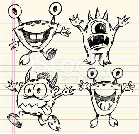 doodle monsters vector free best 25 doodle ideas on