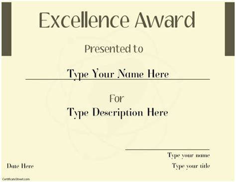 Excellence Award Template by Business Certificates Excellence Award Template