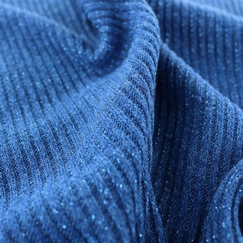 ribbed knit fabric jersey lurex ribbed knitted fabric blue