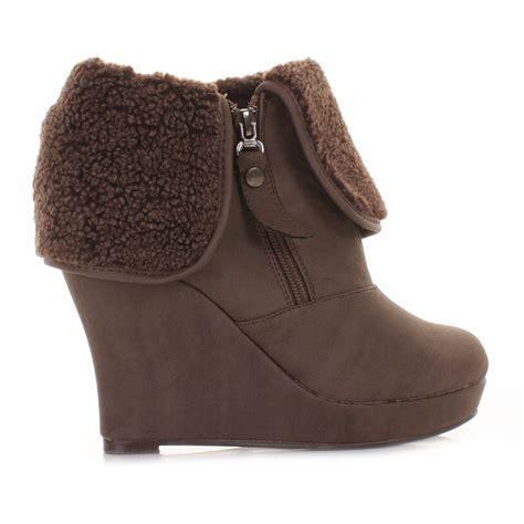 womens brown xti wedge heel ankle boots fleece