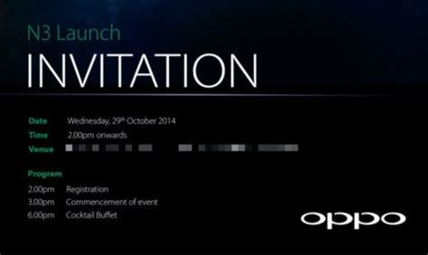 product launch invitation card template oppo n3 unveiling set for oct 29 new render leaked
