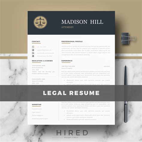 legal resume template for ms word quot madison quot hired