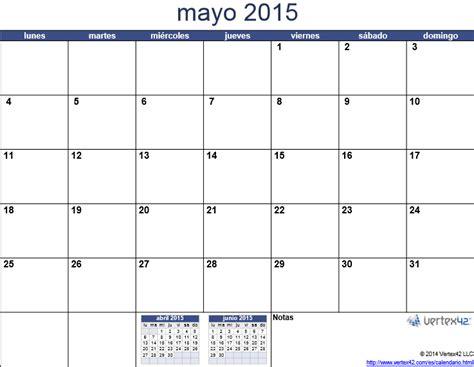 Calendario De Mayo 2015 Calendario 2015 Mes Por Mes Para Imprimir Universo Guia