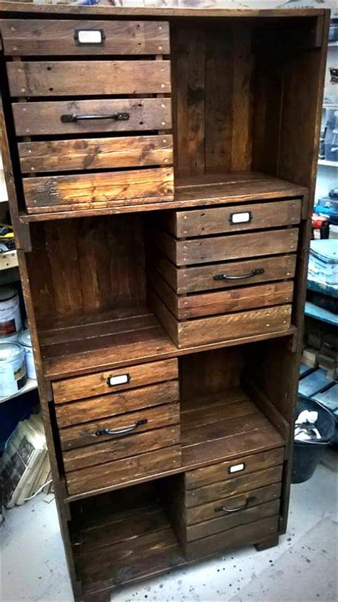 Cabinet Of Drawers by Pallet Chest Of Drawers Bookcase Cabinet 99 Pallets