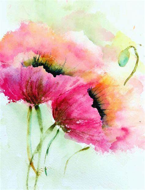 watercolour flower portraits 1782210822 two pink poppies happy valentines day watercolor paintings and watercolor poppies