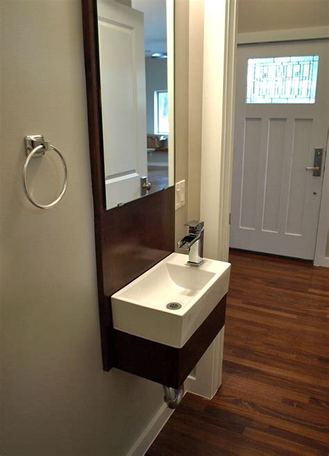 Small Powder Room Sinks Powder Room Craftsman With Copper