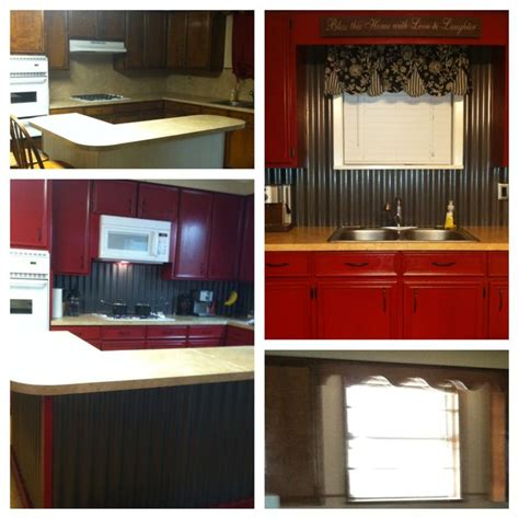 cabinets corrugated tin backsplash island our diy