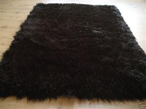 rectangular black faux fur flokati rug 3x5 new 97