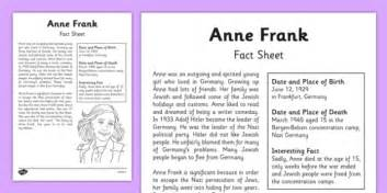 anne frank biography key stage 2 anne frank significant individual fact sheet anne frank
